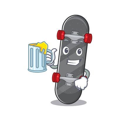 Happy skateboard mascot design with a big glass