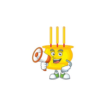 Cool cartoon character of chinese gold incense holding a megaphone. Vector illustration