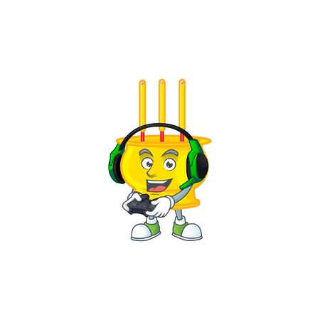 Cool chinese gold incense cartoon mascot with headphone and controller. Vector illustration Illusztráció