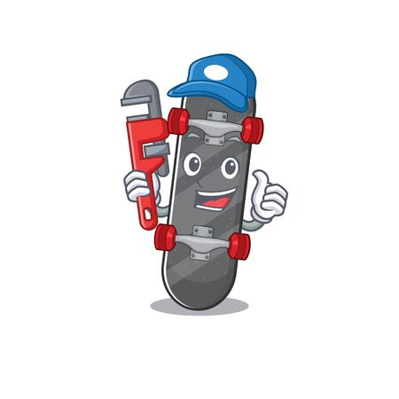 Cool Plumber skateboard on mascot picture style
