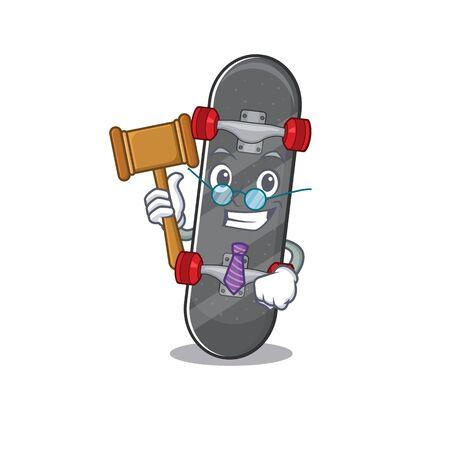 Smart Judge skateboard in mascot cartoon character style Ilustracja
