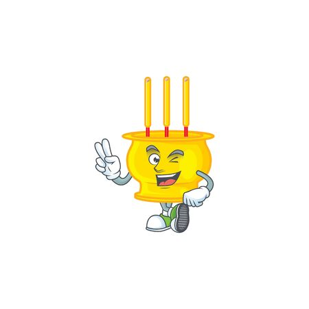 cartoon mascot design of chinese gold incense with two fingers