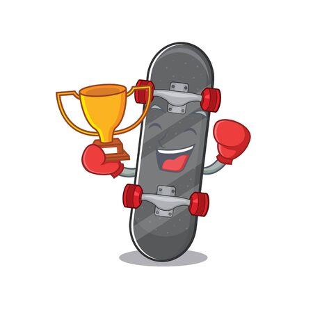 fantastic Boxing winner of skateboard in mascot cartoon style Ilustracja