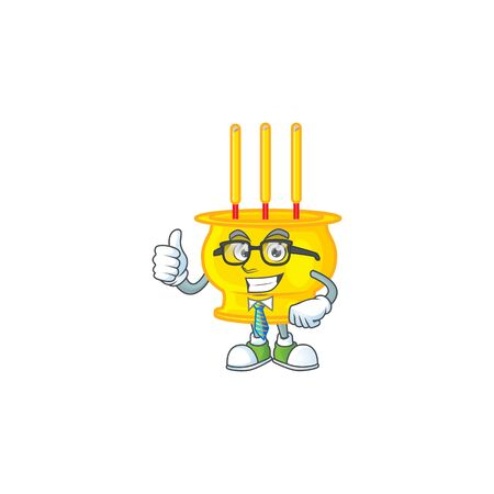 cartoon character of Businessman chinese gold incense wearing glasses. Vector illustration