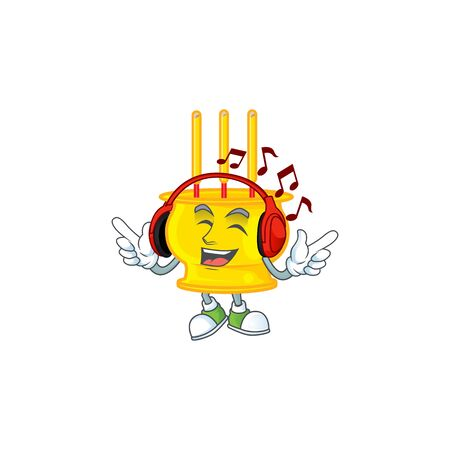 Listening music chinese gold incense mascot cartoon character design Stock Illustratie