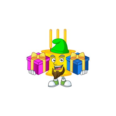 Cute chinese gold incense cartoon mascot style with Tongue out