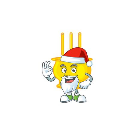 A picture of Santa chinese gold incense mascot picture style with ok finger. Vector illustration