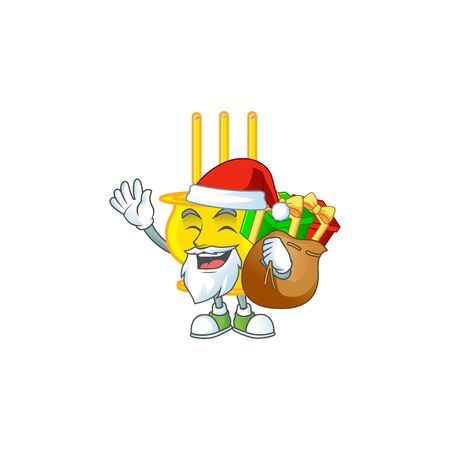 Santa chinese gold incense Cartoon character design having box of gift Vettoriali