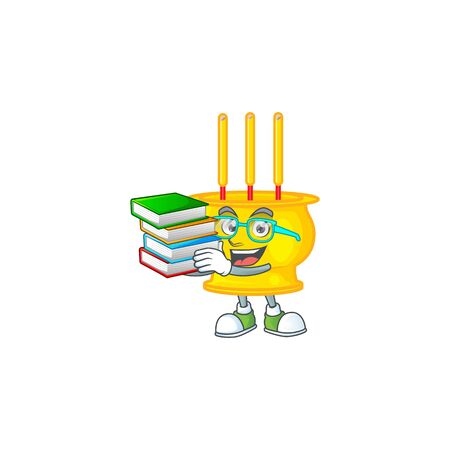 Cool and clever Student chinese gold incense mascot cartoon with book. Vector illustration