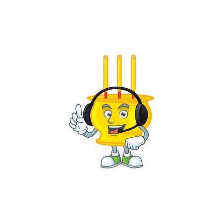 Smiley chinese gold incense cartoon character design wearing headphone. Vector illustration