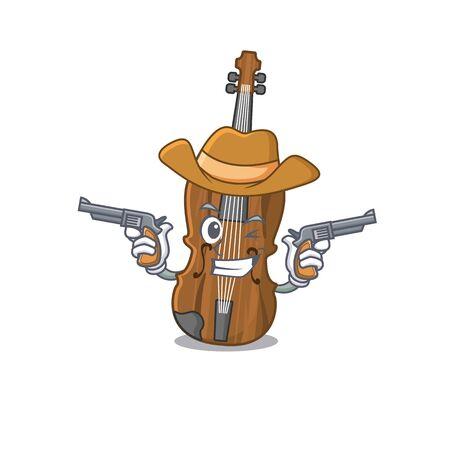 Violin dressed as a Cowboy having guns. Vector illustration Vector Illustration