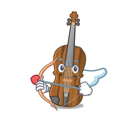 Romantic violin Cupid cartoon character with arrow and wings. Vector illustration