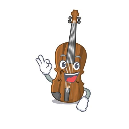 A picture of violin making an Okay gesture. Vector illustration