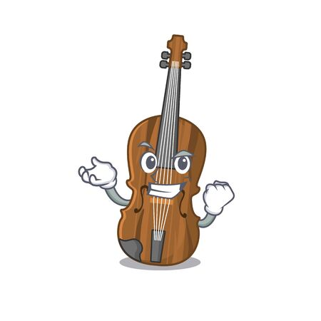 Happy confident Successful violin cartoon character style. Vector illustration