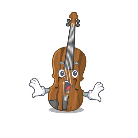 Violin cartoon character design on a surprised gesture. Vector illustration
