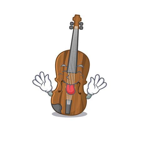 Style mignon de mascotte de dessin animé de violon avec la langue dehors
