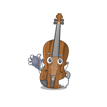 Smart and cool violin cartoon character in a Doctor with tools
