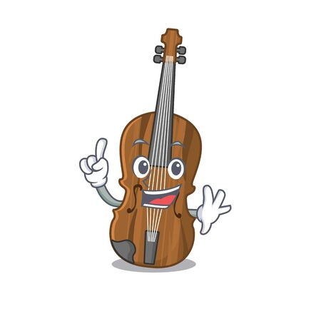 One Finger violin in mascot cartoon character style
