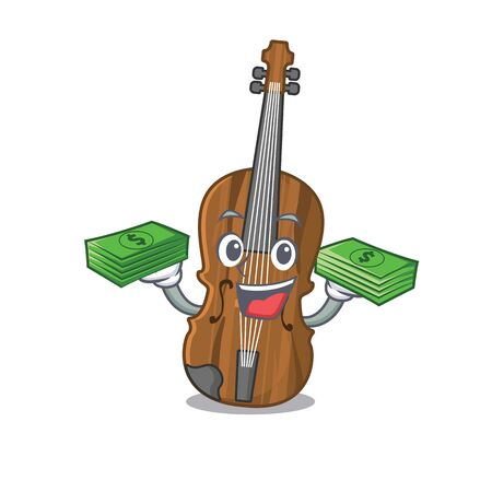happy rich violin character with money on hands. Vector illustration