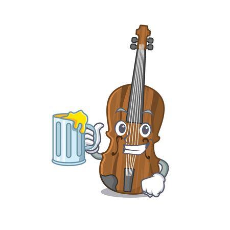 Happy violin mascot design with a big glass Vector Illustration