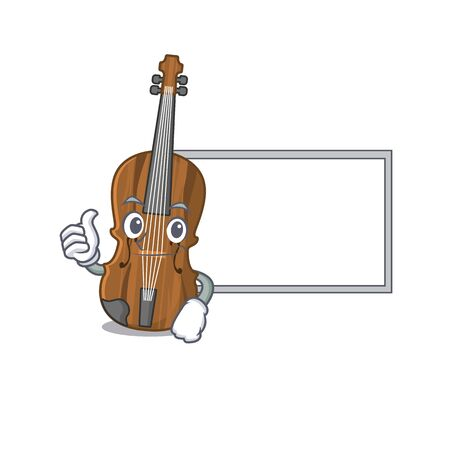 Thumbs up of violin cartoon design with board. Vector illustration