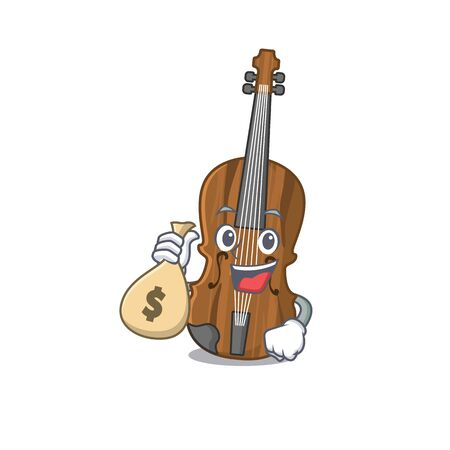Happy rich violin cartoon character with money bag