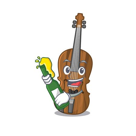 mascot cartoon design of violin with bottle of beer