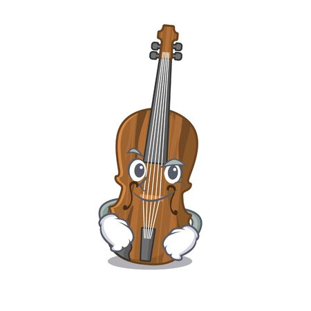 Cool violin mascot character with Smirking face. Vector illustration