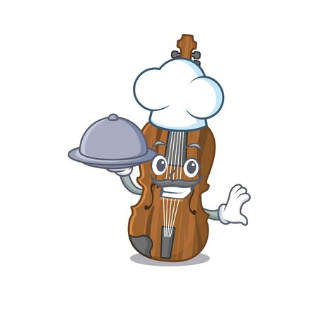 cartoon design of violin as a Chef having food on tray