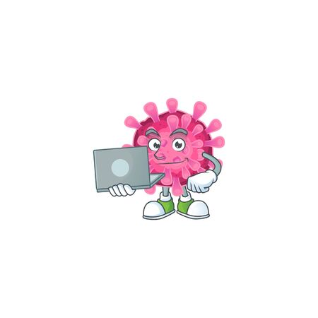 A clever corona virus mascot character working with laptop. Vector illustration Illustration