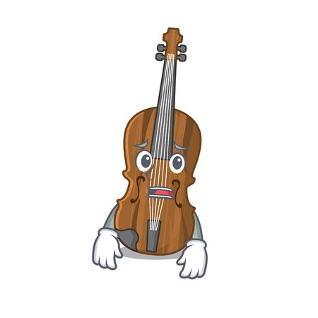 A picture of violin showing afraid look face. Vector illustration