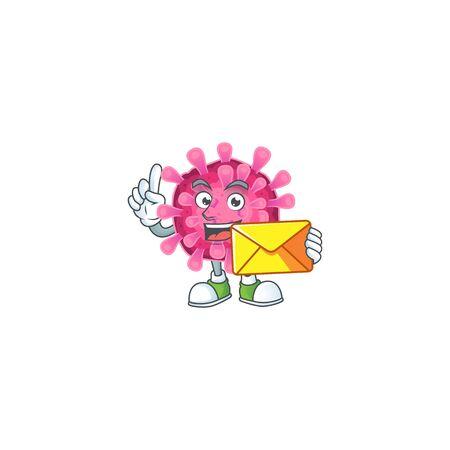 Cheerfully corona virus mascot design with envelope. Vector illustration Illustration