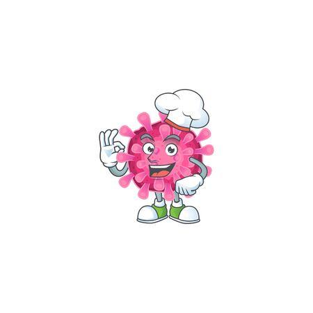 Corona virus cartoon character wearing costume of chef and white hat. Vector illustration