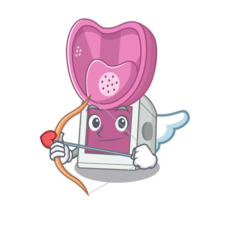 Romantic steam inhaler Cupid cartoon character with arrow and wings. Vector illustration