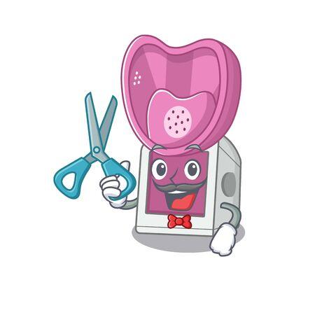 Smiley Funny Barber steam inhaler cartoon character design style