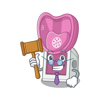 Smart Judge steam inhaler in mascot cartoon character style. Vector illustration