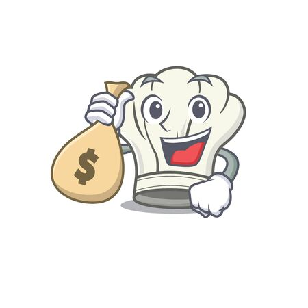 Happy rich cook hat cartoon character with money bag. Vector illustration Çizim