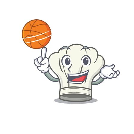 A mascot picture of cook hat cartoon character playing basketball. Vector illustration Çizim