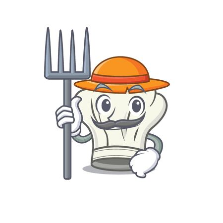 Cheerfully Farmer cook hat cartoon picture with hat and tools. Vector illustration
