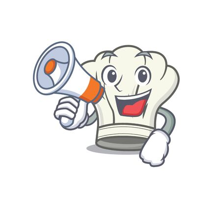 An icon of cook hat having a megaphone. Vector illustration Çizim