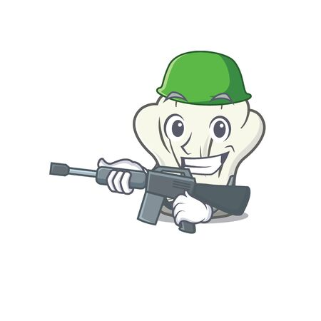 A cartoon design of cook hat Army with machine gun. Vector illustration Çizim