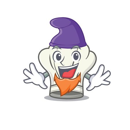 Funny cook hat cartoon mascot performed as an Elf. Vector illustration Çizim