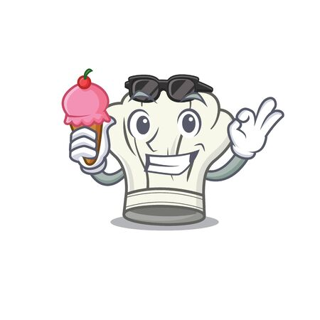 Cook hat mascot cartoon design with ice cream. Vector illustration