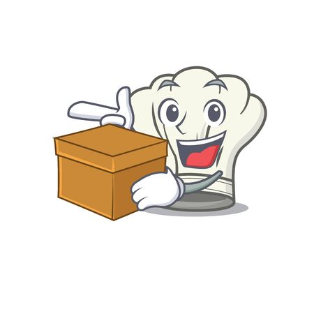 Cute cook hat cartoon character having a box. Vector illustration