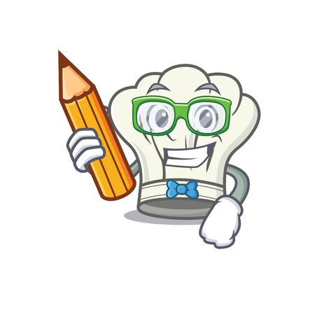 A picture of Student cook hat character holding pencil. Vector illustration