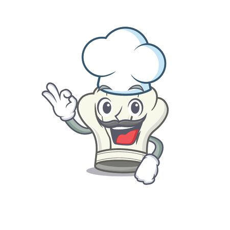 Cook hat cartoon character wearing costume of chef and white hat. Vector illustration
