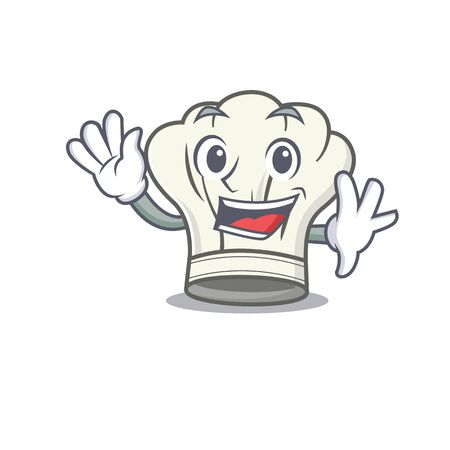 Waving friendly cook hat cartoon character design. Vector illustration