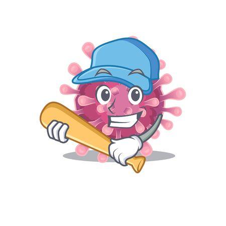 Sporty corona virus cartoon character design with baseball. Vector illustration Ilustração