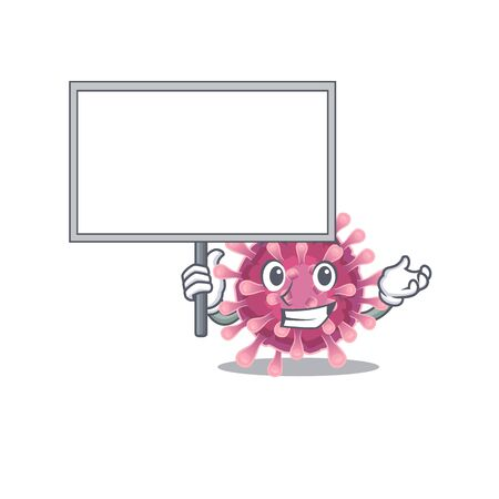 A cute picture of corona virus cute cartoon character bring a board. Vector illustration