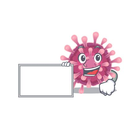 Funny corona virus cartoon character design style with board. Vector illustration